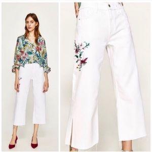 Zara wide leg white jeans Size 0